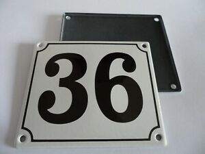 Old German White Enamel Porcelain Metal House Door Number Street Sign / Plate 36