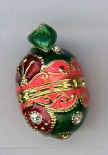 Russian Faux Egg Pendant Split w/clear crystals,decor green, pink, gold & red