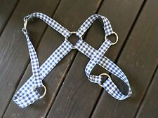 GINGHAM PLAID gay fetish party preppy webbed nylon silver ring harness SMALL