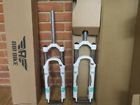 "Air Bike XC32 MTB Suspension Fork 26"" Lockout 100mm Travel 1 1/8  Steerer White"