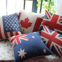 National Flag Cushion Cover Australian Canada Pillow Case 45x45cm Union Jack Red