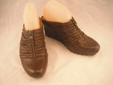Earthies Javelle Women 8 Brown Leather Wedge Heel Zip Rouched Mules Shoes
