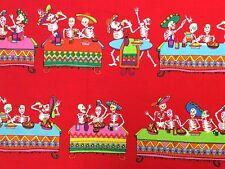BE36 Day of the Dead Dia de los Muertos Skeleton Mexico Cotton Quilt Fabric