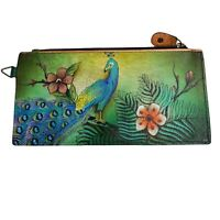 Anuschka Leather Hand Painted Wallet Peacock Floral