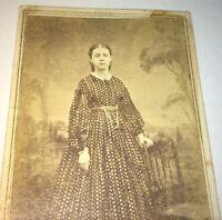 Antique Early American Civil War Fashion Dress Beauty! Chatelaine! CDV Photo! US