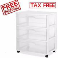 3 Drawer Wide Organizer Cart Plastic Storage Container Office Rolling Bin Box