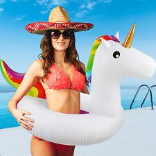 """36"""" Giant Flamingo Unicorn Shaped Inflatable Swim Ring Pool Float Raft Beach UK"""