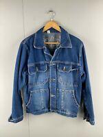 Vintage Alexander Mens Button Up Denim Jacket with Front Pockets Size Large Blue