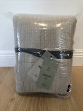 West Elm Organic Double Cloth Blanket King Beige/ Gray