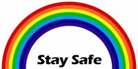 RAINBOW STAY SAFE MESSAGE T SHIRT TRANSFER LARGE A4 SIZE