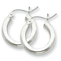 925 Sterling Silver Rhodium Plated 3mm x 18mm Polished Hinged Hoop Earrings