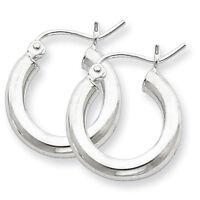 925 Sterling Silver Rhodium Plated 3mm x 18mm Polished Hinged Hoop Earrings