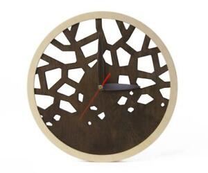Wooden Wall Clock Modern Handcrafted ABSOLUTELY SILENT! QUALITY Anniversary gift