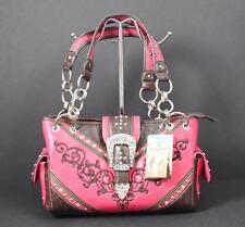 Heritage West Fuchsia Pink Buckle Rhinestone Studs Tote Shoulder Handbag Y8