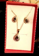 "Gold Over Sterling Silver Tear Drop Necklace 18"" & Stud Earrings, Mystic Topaz"