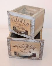 Set of 2 Rustic Square Wooden Drawers With Handles - Garden Planter