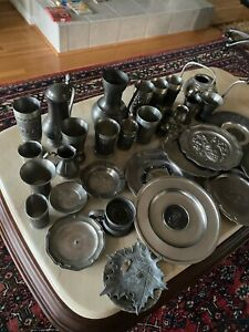 SCRAP PEWTER LOT OVER 22 LBS. PLATES CUPS ALL KINDS MOSTLY GERMAN PEWTER