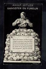 Mint WW2 France Anti Nazi Propaganda Postcard Hitler Gangster Leader Pile Skulls