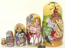 Muñecas rusas 5 Matryoshka Alice El País de las Maravillas Sombrerero Loco Blanco Conejo Liebre De Marzo