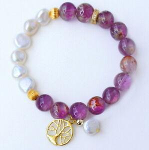 10mm Natural Golden Rutilated Amethyst Pearl Beads Bracelet JGM20