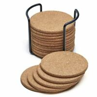 Natural Cork Coasters With Round 16pc Set with Metal Holder Storage Caddy – D2V3