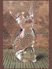 """Solid Fine Clear Crystal Cat Figurine ~ 6.75"""" Tall ~ Smooth Lens-Like Surface"""