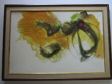 JIANG SIGNED 1970 CHINESE ABSTRACT EXPRESSIONISM PAINTING NON OBJECTIVE MODERN
