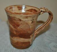 HANDMADE Pottery Ceramic Mug Hope Leave Dragonfly Beautiful OOAK