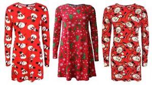 Ladies Women Long Sleeve Xmas Snowman Gift Santa Print Christmas Swing DressTop