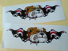 BRITISH BULLDOG UNION JACK WINGS Car Motorcycle Stickers Decals 2 off 100mm