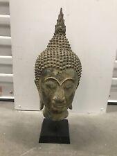 Antique Thai Bronze Buddha Head Sculpture Work Of Art Estate Find NR