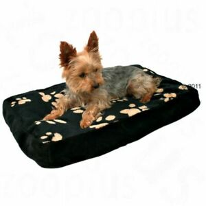 Dog Cushion Plush Cover Paw Print Design Black Bed Quality Best Soft Washable