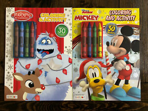Lot of 2 Coloring Activity Books! Rudolph & Disney Junior Mickey Mouse Christmas