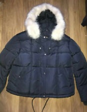 Ladies Size 12 Topshop Fur Lined Navy Quilted Jacket Coat Puffa Puffer Oversize