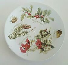 """Marjolein Bastin Collector Plate Pine Cone Holly Anemone 1995 Botanical 8 3/4"""""""