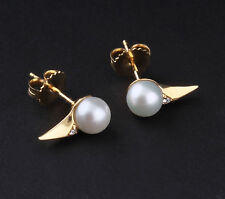 Georg Jensen 18 Ct Yellow Gold Earrings Neva w. Diamonds / Pearls # 1579A, NEW!