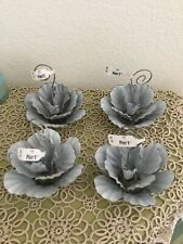 NEW PIER ONE Set Of 4 Metal  Shabby Chic Roses/Flowers Photo/Recipe Holders