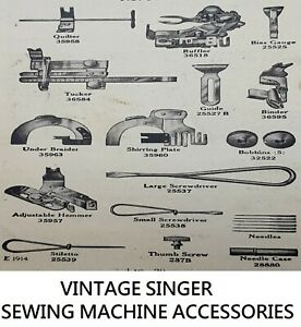 Original Vintage Singer Sewing Machine Accessories and Feet