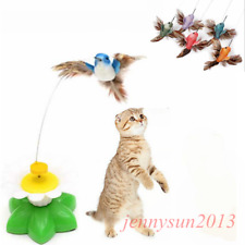 Fun Pet Cat Toy Electric Rotating Butterfly Bird Rod Bead Wire Teaser Play Toys