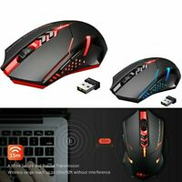 2400 DPI Wireless Gaming Mouse w/ Unique Silent Click Optical for PC Laptop Mac~