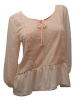 SELF ESTEEM Women's Peplum Top Lace-Trim Scoop Neck Pink SIZE S