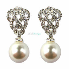 Bridal Wedding Silver Crystal Diamante Pearl Vintage Style Drop Dangle Earrings