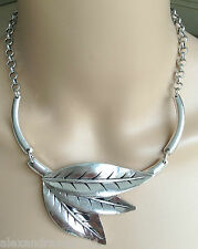 NEW Pretty Linked Leaves Silver Shiny Statement Collar Necklace Gift