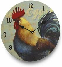 NEW! Colorful Farm House Rooster Kitchen Round Glass Wall Clock