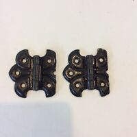 Vintage Pair of Butterfly Hinges Black Cabinet Hardware Farmhouse Rustic (2)