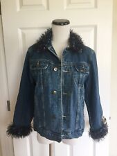 LEE Denim Jean Jacket Women's Hand Knit Cuffs & Collars Unique Size S