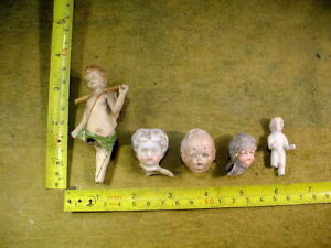 5 x excavated vintage victorian lovely painted doll head age 1860 Hertwig 14436