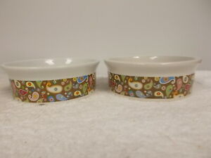 Two Paisley Stoneware Dog Cat Puppy Kitten Pet Food Water Bowls Dishes