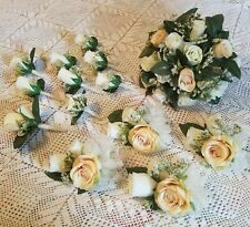 Wedding Bouquet Set, 14 pc Silk Flowers, Ivory & Champagne