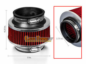 "2.75"" 70mm Cold Air Intake Universal ByPass Valve Filter RED For Cadillac"